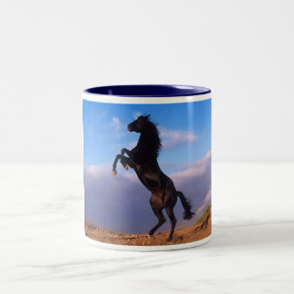 Beautiful rearing black horse with blue sky photo Two-Tone mug