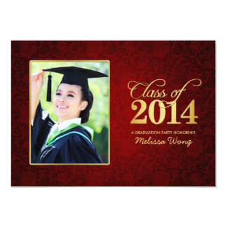 Beautiful Red Floral Damask and Gold Class of 2014 Card