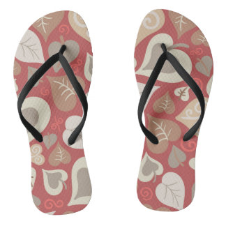 beautiful red love hearts leaves jandals