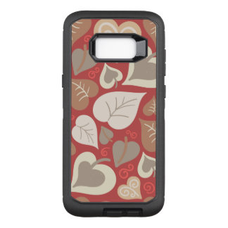 beautiful red love hearts leaves OtterBox defender samsung galaxy s8+ case