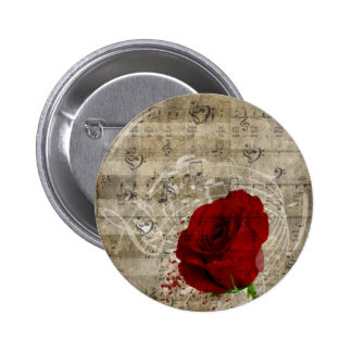 Beautiful red rose music notes swirl faded piano pinback button