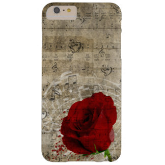 Beautiful red rose music notes swirl faded piano barely there iPhone 6 plus case