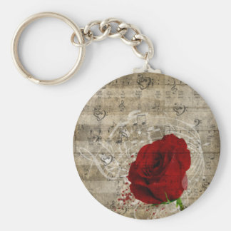Beautiful red rose music notes swirl faded piano basic round button key ring