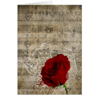 Beautiful red rose music notes swirl faded piano greeting cards