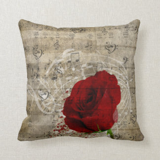 Beautiful red rose music notes swirl faded piano pillows