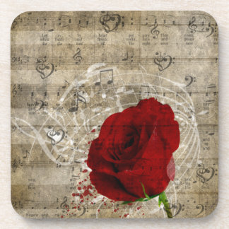 Beautiful red rose music notes swirl faded piano drink coaster