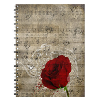 Beautiful red rose music notes swirl faded piano notebooks