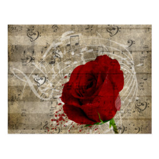 Beautiful red rose music notes swirl faded piano postcard