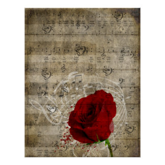 Beautiful red rose music notes swirl faded piano posters