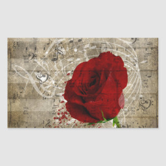 Beautiful red rose music notes swirl faded piano rectangular sticker