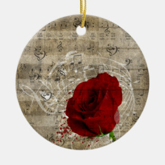 Beautiful red rose music notes swirl faded piano round ceramic decoration