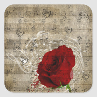 Beautiful red rose music notes swirl faded piano square sticker