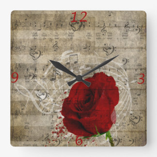 Beautiful red rose music notes swirl faded piano square wall clock