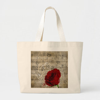 Beautiful red rose music notes swirl faded piano tote bag