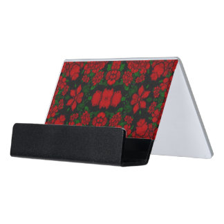 Beautiful Red Roses Abstract Desk Business Card Holder