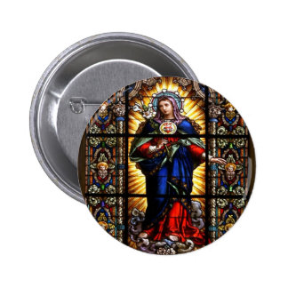 Beautiful Religious Sacred Heart of Virgin Mary 6 Cm Round Badge