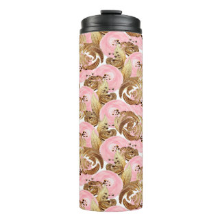 Beautiful romantic pink and gold Flowers Pattern Thermal Tumbler