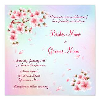 Beautiful  Sakura 5.25x5.25 Square Paper Invitation Card