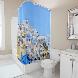 Beautiful Seaside Whitewashed Houses Greece Beach Shower Curtain