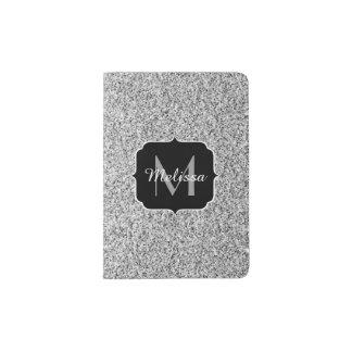 Beautiful Silver glitter sparkles Monogram Passport Holder