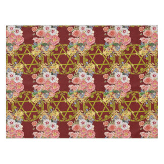 Beautiful Star of David with flowers on maroon Tablecloth