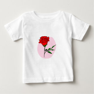 Beautiful Stylized Red Rose on Pink Background Baby T-Shirt