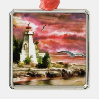 Beautiful Sunset Sky And Lighthouse Christmas Ornament