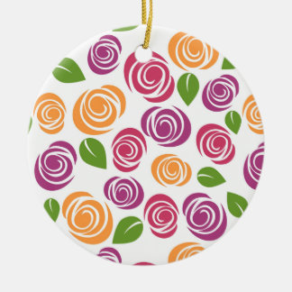 Beautiful Swirl Rose Floral Pattern Christmas Ornament