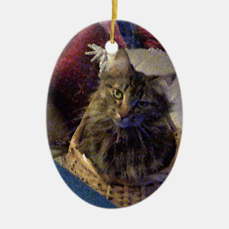 Beautiful Tabby Maine Coon Kitty Cat in a Basket Christmas Ornament