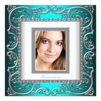 Beautiful Teal Blue Photo Quinceanera Card