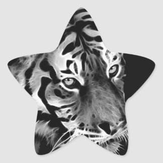Beautiful Tiger Black White Africa Star Sticker