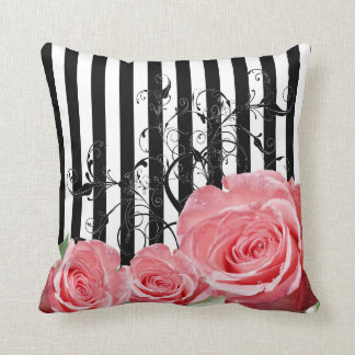 Beautiful Trendy Pink Roses with Swirls Throw Pillow