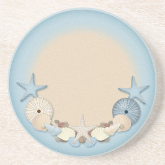 Beautiful Tropical Theme Beach Shells Sandstone Coaster