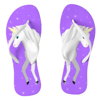 Beautiful Unicorn with Purple Starry Sky Thongs