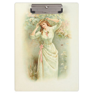 Beautiful Vintage Girl Pastel Flowers & Pink Roses Clipboard