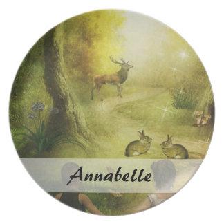 Beautiful Vintage Rabbit Woodland Scene Easter Plate