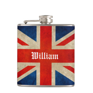 Beautiful Vintage UK Flag Union Jack - Custom Name Hip Flask
