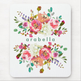Beautiful Watercolor Floral with your Name Mouse Pad