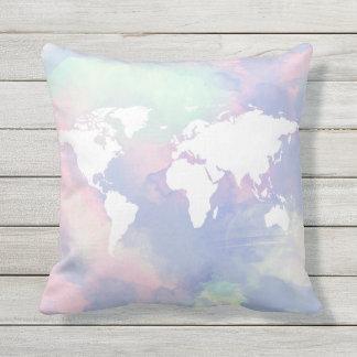 beautiful watercolor world-map throw pillow