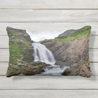 Beautiful waterfall in mountain river lumbar pillow