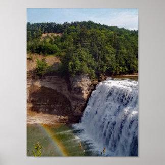 Beautiful  Waterfall Rainbow Nature Photography Poster