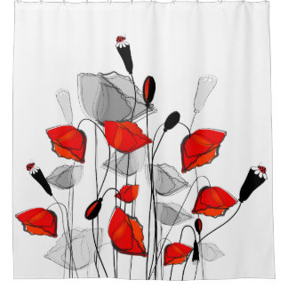 Beautiful Whimsical Red Poppies Shower Curtain