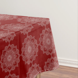 Beautiful White Mandala Flower On Red Tablecloth