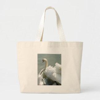 Beautiful white swan tote bag