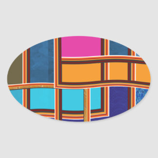 Beautiful Windows Glowing Colorrful Lines Squares Oval Sticker