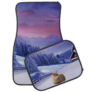 Beautiful Winter Fox Car Mat