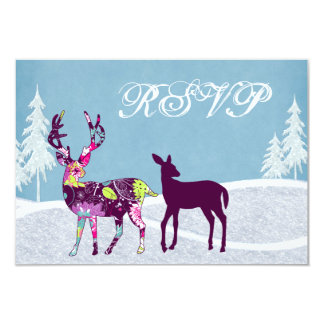 Beautiful Winter Woodland Deer Wedding RSVP Card