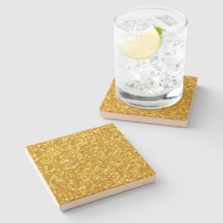 Beautiful Yellow Glitter Pattern Stone Coaster
