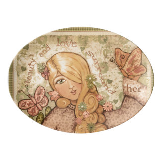 Beauty and Love Lady Porcelain Coupe Platter