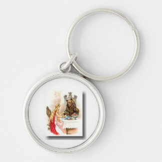 Beauty and the beast Silver-Colored round key ring